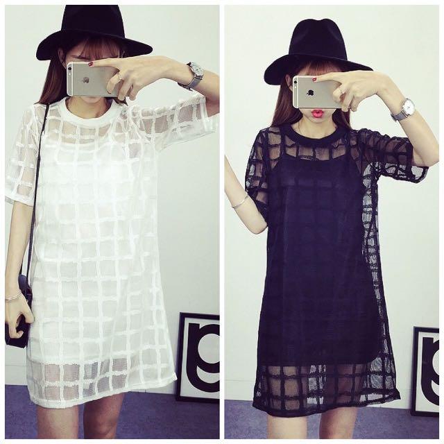 (預購)格子網紗短袖罩衫+修身吊帶裙兩件套連衣裙