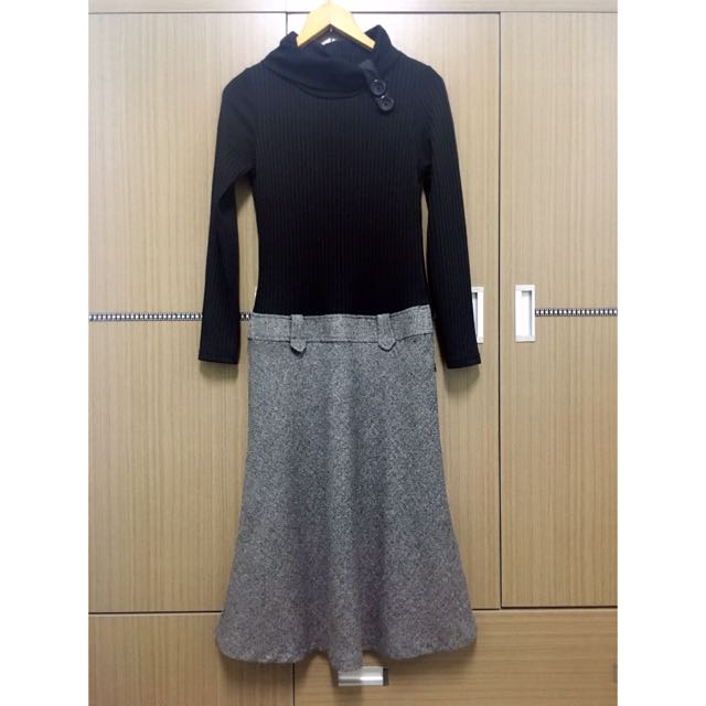 針織翻領小高領質感長袖連身長裙/連衣裙