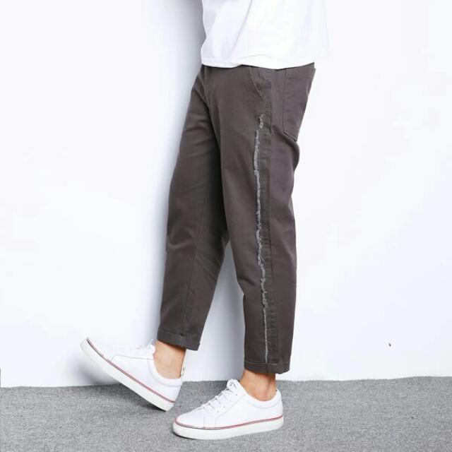 【長褲】 日系復古簡約休閒褲男士工裝布褲長褲潮男百搭修身九分褲