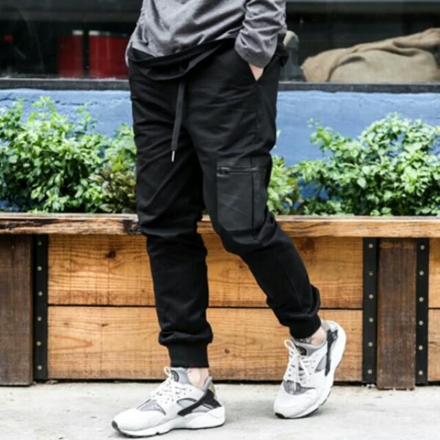 【長褲】 原創日系街頭修身長布褲潮男慢跑束腳褲簡約純色百搭休閒褲