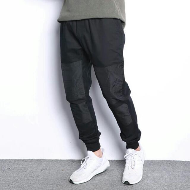 【長褲】 日系原創潮男小脚褲歐美滑板街頭慢跑拉鍊束腳褲修身休閒長布褲
