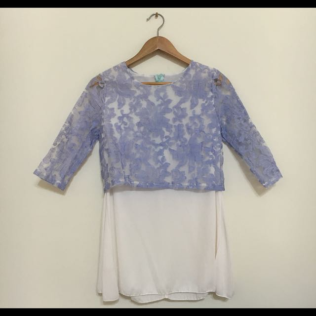 ⚠️免運 花朵透膚雪紡五分袖洋裝