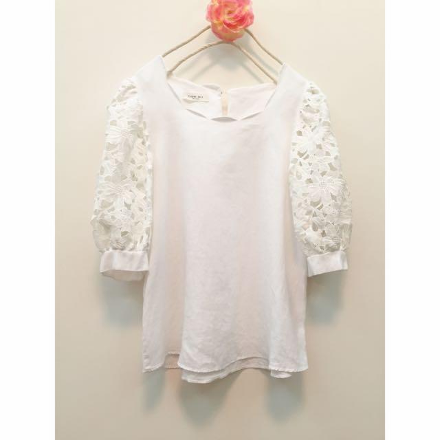 正韓 蕾絲袖 白色棉麻上衣