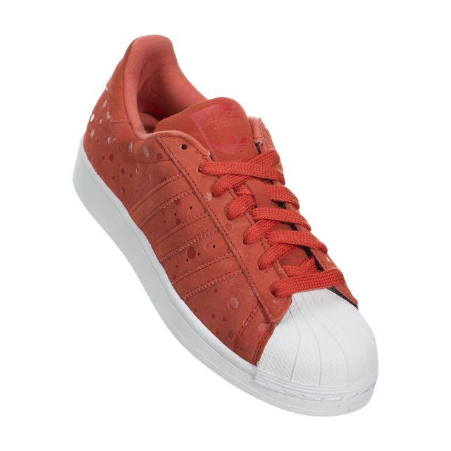 降價 動力主義購入 正品 adidas Superstar w 橘紅點點貝殼鞋