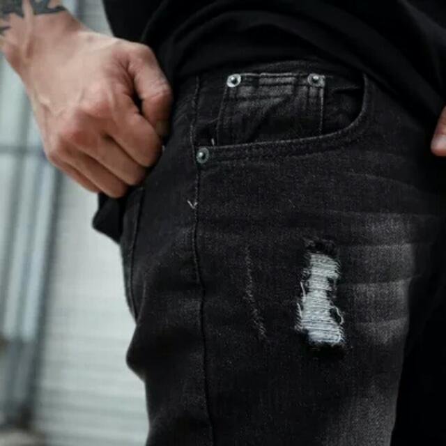【長褲】 美式高街日系原宿復古修身小脚破舊洗水牛仔褲GD潮男縮腳褲長褲