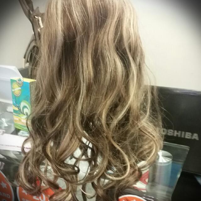 Ash Brown W Blonde Foil One Piece clip In Hair Extension