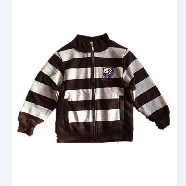Boy's stripes zip sweater.
