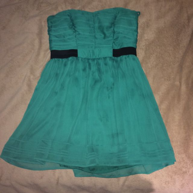 Dotti Green And Black Strapless Dress