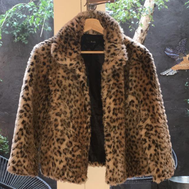 Bardot Faux Fur Leopard Print Jacket