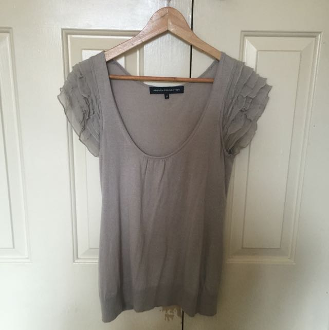 French Connection Wool And Silk Sleeve Top