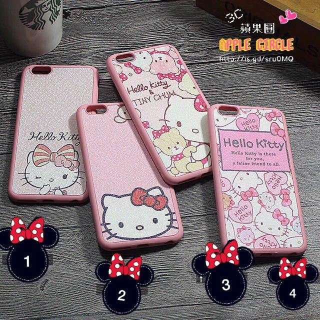 (現貨)Kitty iPhone 蠶絲紋 手機套 手機殼 軟殼《附掛繩》唷!
