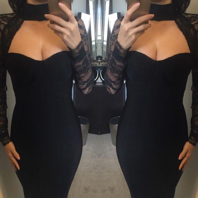 Lace Bodycon Black Bandage Sexy Choker Lace Dress Size 6 8 10 12