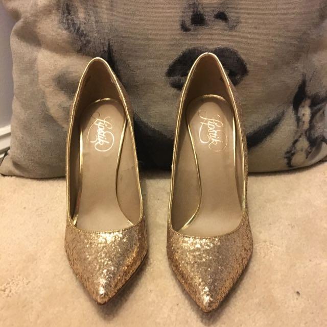 Lipstick Gold Sparkly Heels