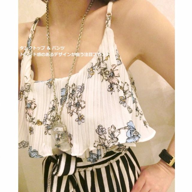 M/D💋雪紡柔和雙層彩花背心(白/深藍)肩帶可調整