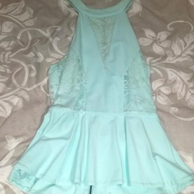 Mint Colour Peplum Top