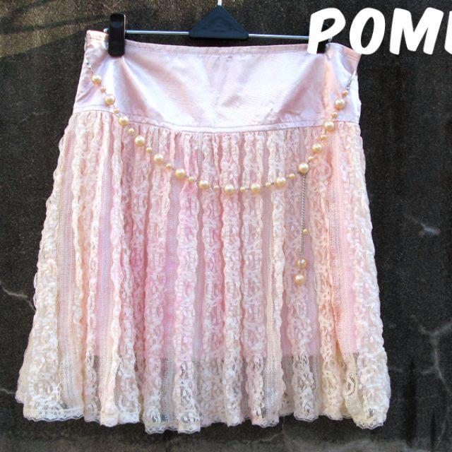 ☆POMER☆法式千金 小公主 名媛 小正式 華麗凡爾賽 甜蜜約會穿搭 珍珠腰鍊 滿版夢幻精緻花朵蕾絲 滑面 淡粉紅短裙