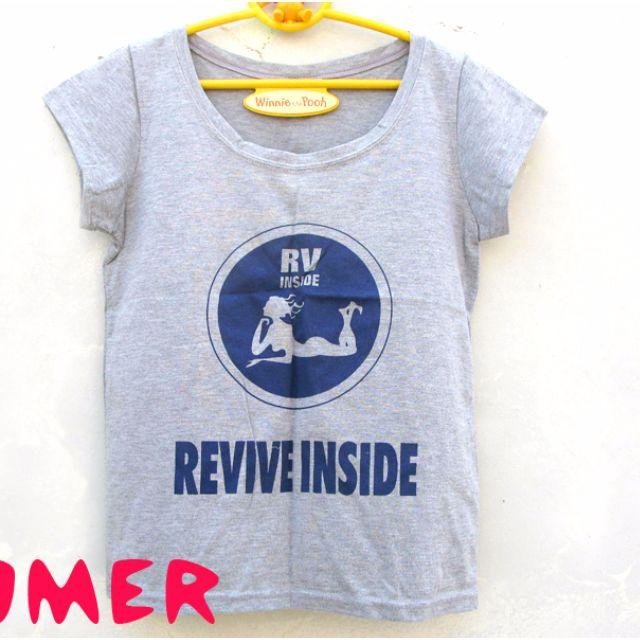 ☆POMER☆韓版 vintage獨特混搭個性古著休閒有型街拍 REVIVE INSIDE 美人魚 藍色圓形灰色短袖T恤