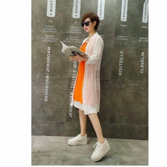 韓版中長款寬松棉麻披肩連衣裙兩件套(S~3XL二色自選)