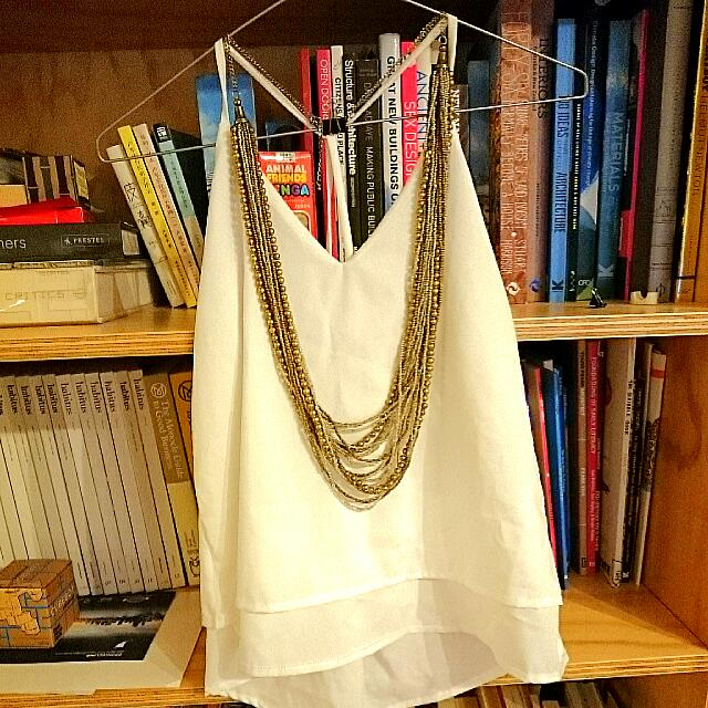Sexy White Singlet (new) + Free Gold Necklace
