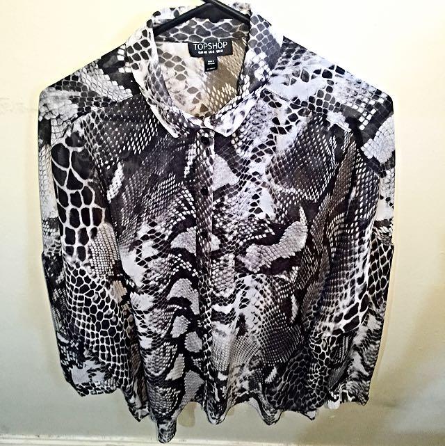 Shirt, Sheer Snake Print, Topshop