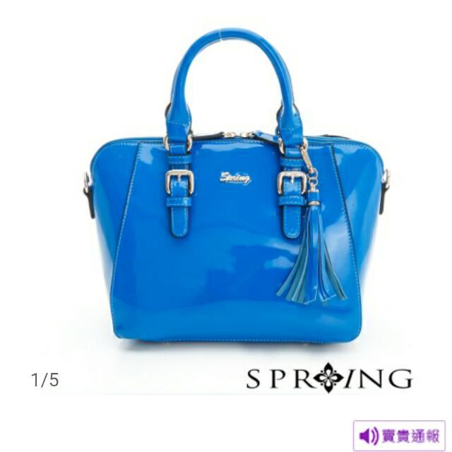 Spring漆皮貝殼包-鑽石藍