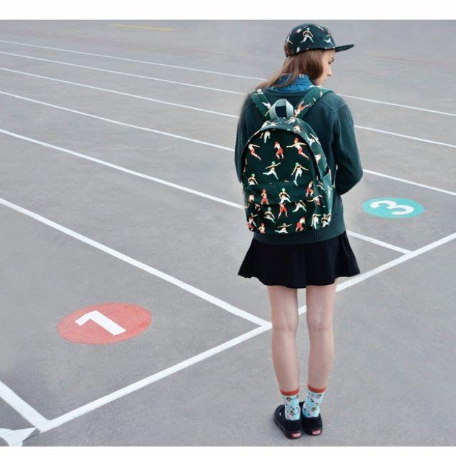 【預購】YiZi第五季帆布後背包創意復古日系森女印花文藝範旅行背書包