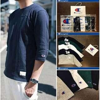 配送手提袋 Champion 日系簡約素色七分袖 中袖TEE恤 黑色 白色 寶藍色 灰色 白色 尺碼 S M L XL XXL