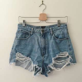 A Brand ripped denim shorts size 11