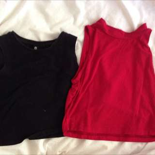 Red And Black Crop Tops