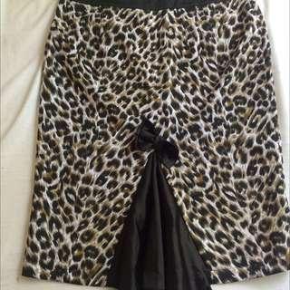 Lucky Thirteen Leopard Print Pencil Skirt