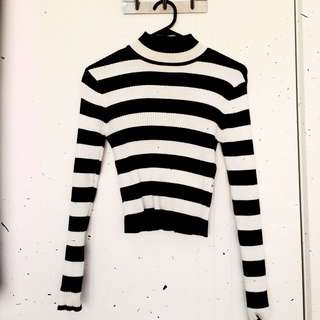 MINKPINK Striped Ribbed Crop Sweater