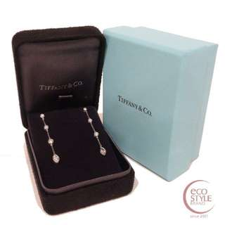 Authentic TIFFANY&Co. PT950 4.01g diamond drop earring Silver 14 5.26
