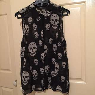 Skull Studded Top Vest free shipping with tracking
