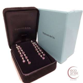 Authentic TIFFANY&Co. PT950 10.88g pink sapphire diamond earring Pink 14 5.26