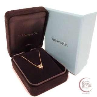 Authentic TIFFANY&Co. 750YG 2.56g Bezel set Diamond Necklace Gold 14 5.26