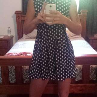 Blue And White Poka Dot Dress