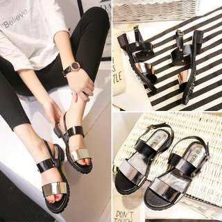 effb21665e6  PO  Stylenanda Inspired Holographic Strap Sandals Shoes