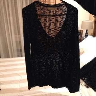 V Neck black knit
