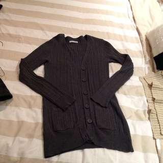 Dark grey Cardigan With Pockets
