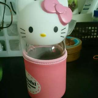 Hello Kitty Glass Bottle With Cover, free NM