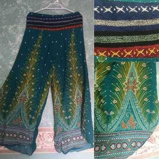 Peacock flowy pants
