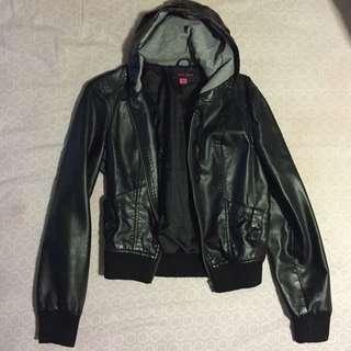 Leather Hooded Jacket