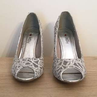 Silver Peep Toe Heels with Lace detail