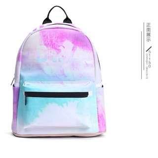 【預購】韓版時尚女學生潮流紮染背包PU後背包