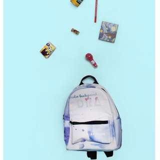 【預購】韓版休閒學生學院風悅動印花水彩PU後背包