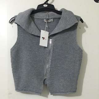 BNWT Knitted Grey Zipped Vest