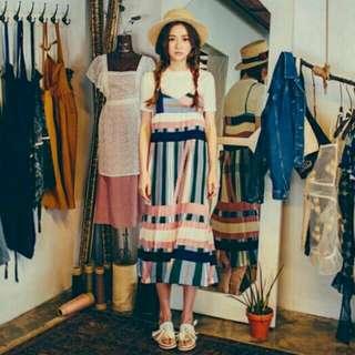 韓風 幾何圖案 百摺洋裝