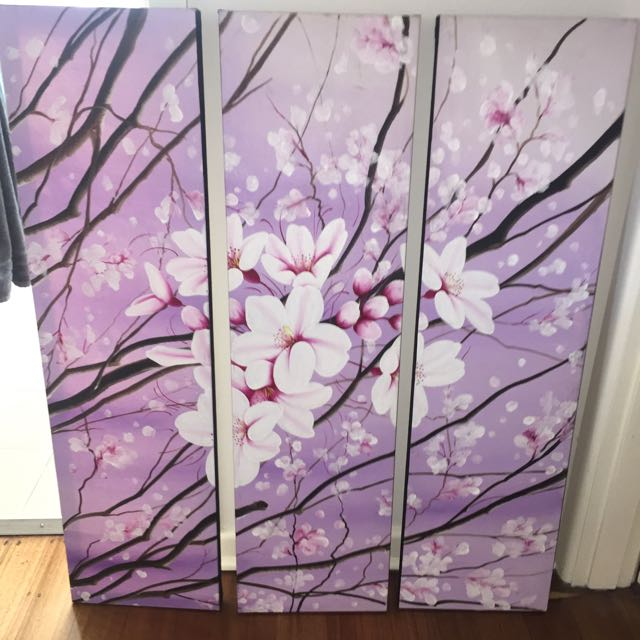 3 Piece Large Painting Purple Blossom