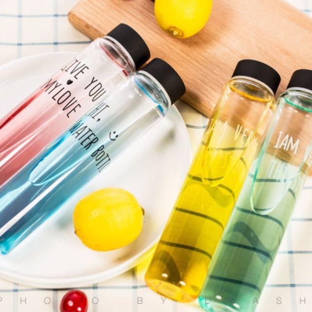 【預購】韓國字母漸變色彩細管玻璃水杯情侶杯創意簡約隨手杯透明水瓶