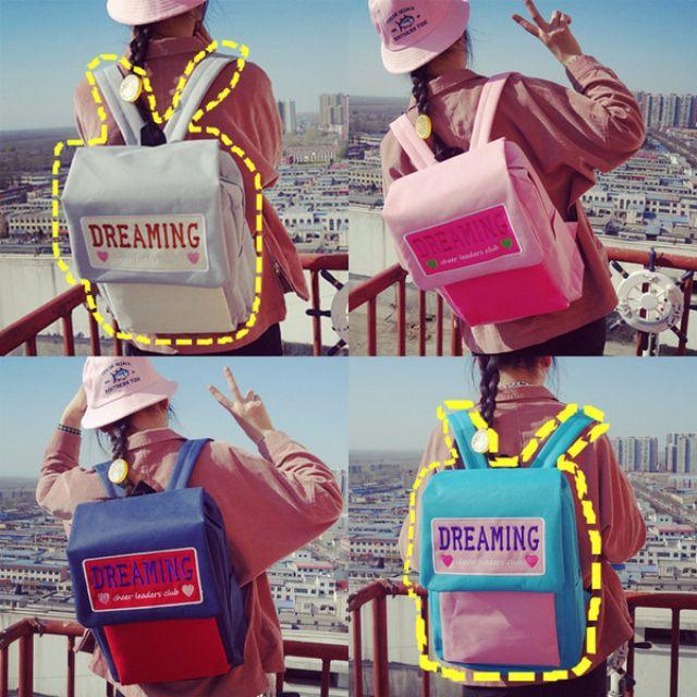 【預購】可愛韓版學院風書包背包原宿文藝清新校園撞色刺繡字母後背肩包